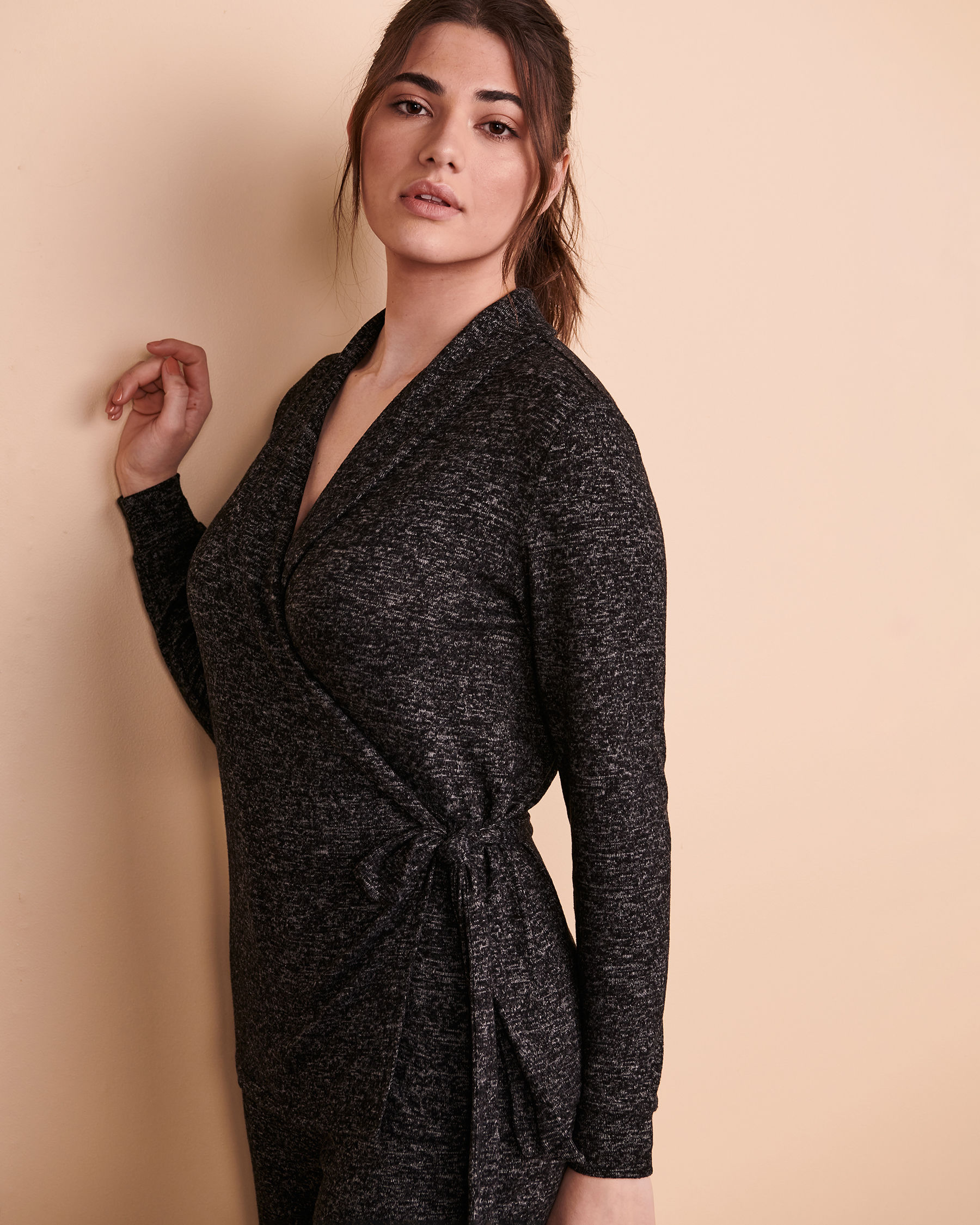 TURQUOISE COUTURE Wrapover Cardigan Black 02100003 - View1