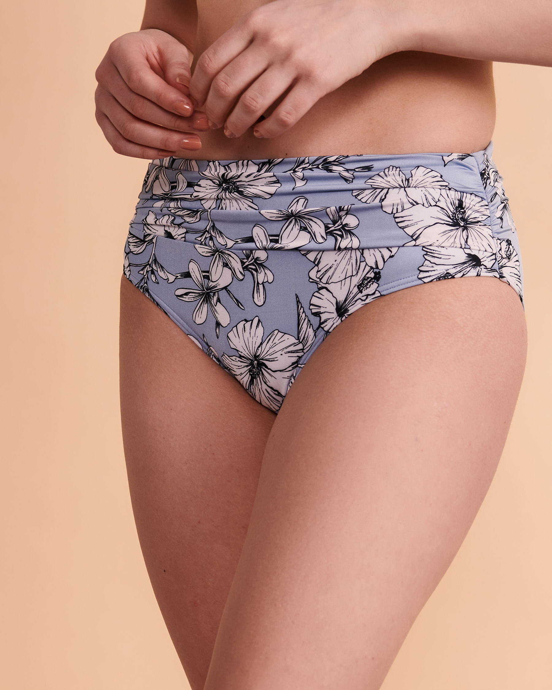 TURQUOISE COUTURE FOREVER Mid Waist Bikini Bottom Blue floral 01300014 - View4