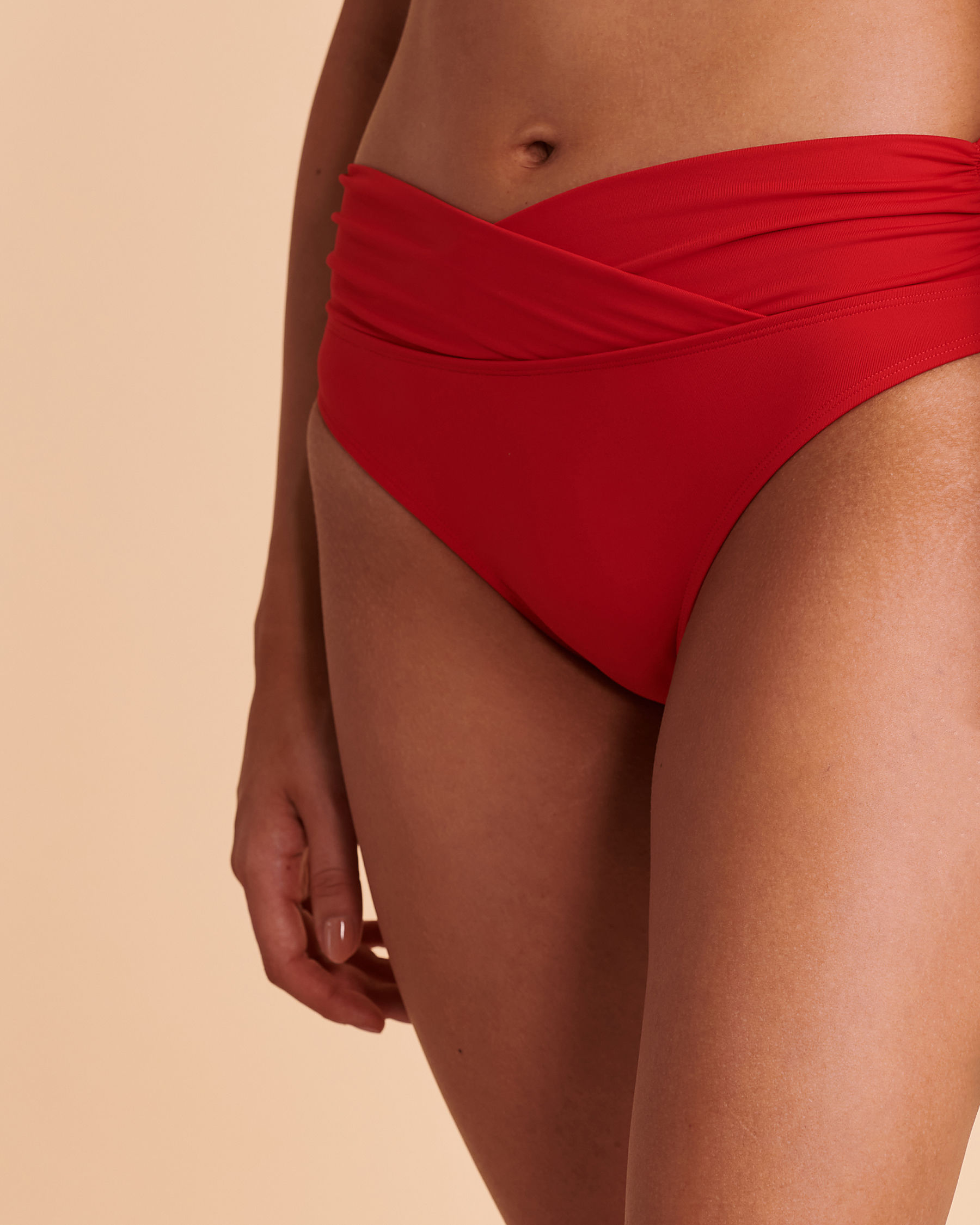 TURQUOISE COUTURE SOLID Foldable Waistband Bikini Bottom Red 01300007 - View1