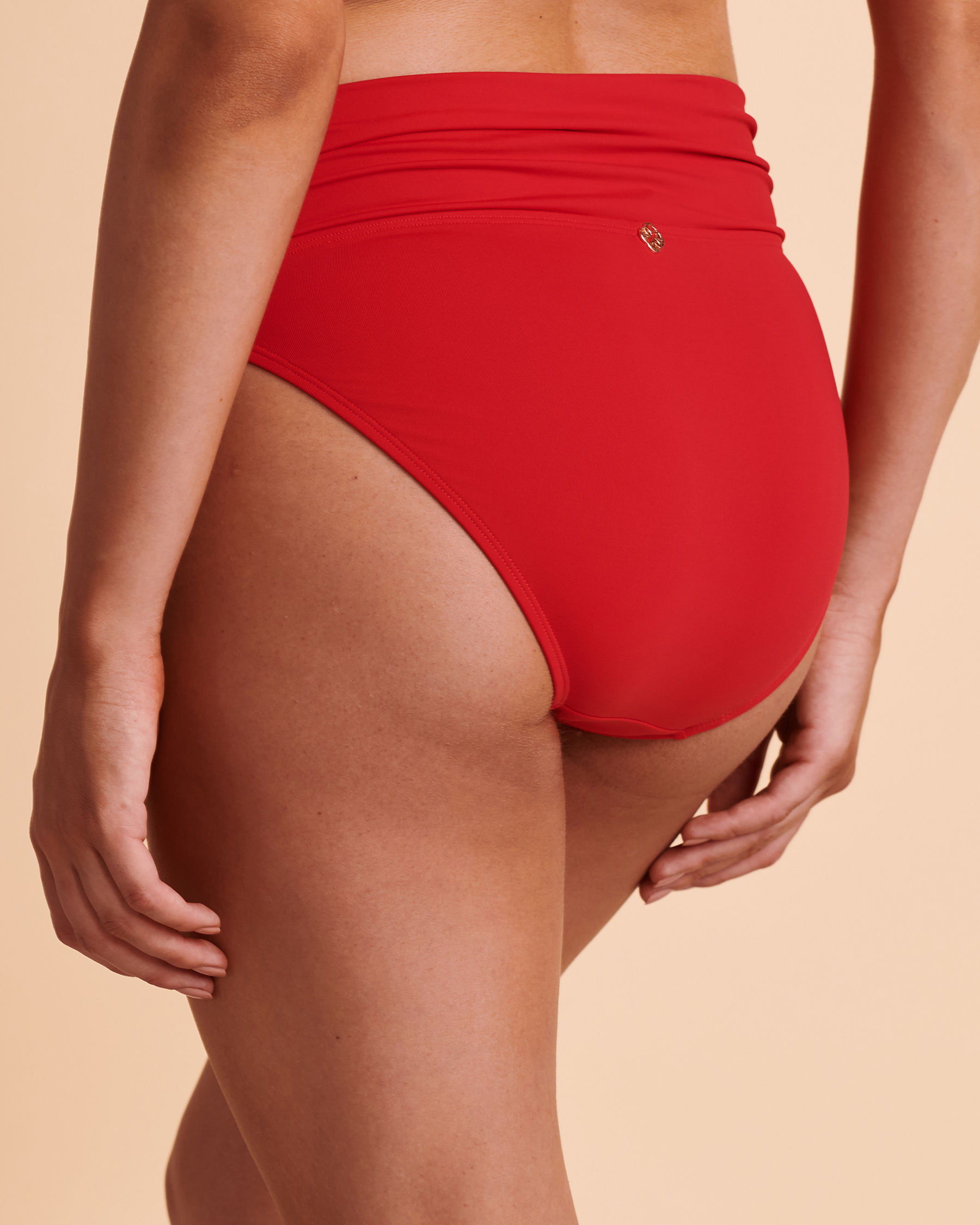 TURQUOISE COUTURE SOLID Foldable Waistband Bikini Bottom Red 01300007 - View2