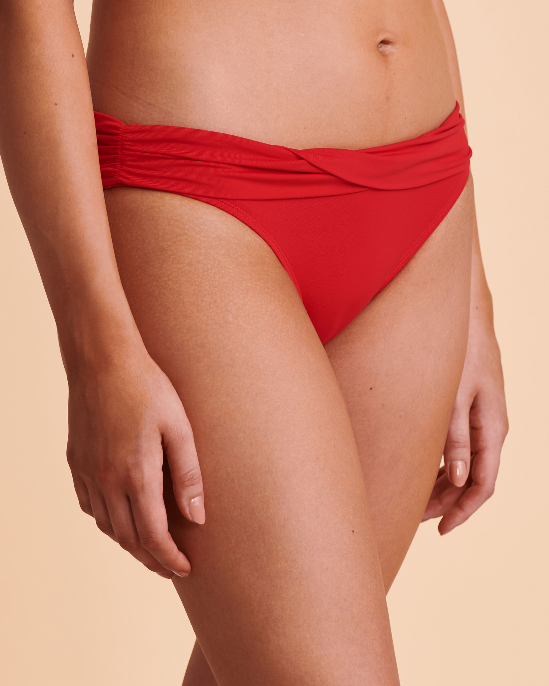 TURQUOISE COUTURE SOLID Foldable Waistband Bikini Bottom Red 01300007 - View3