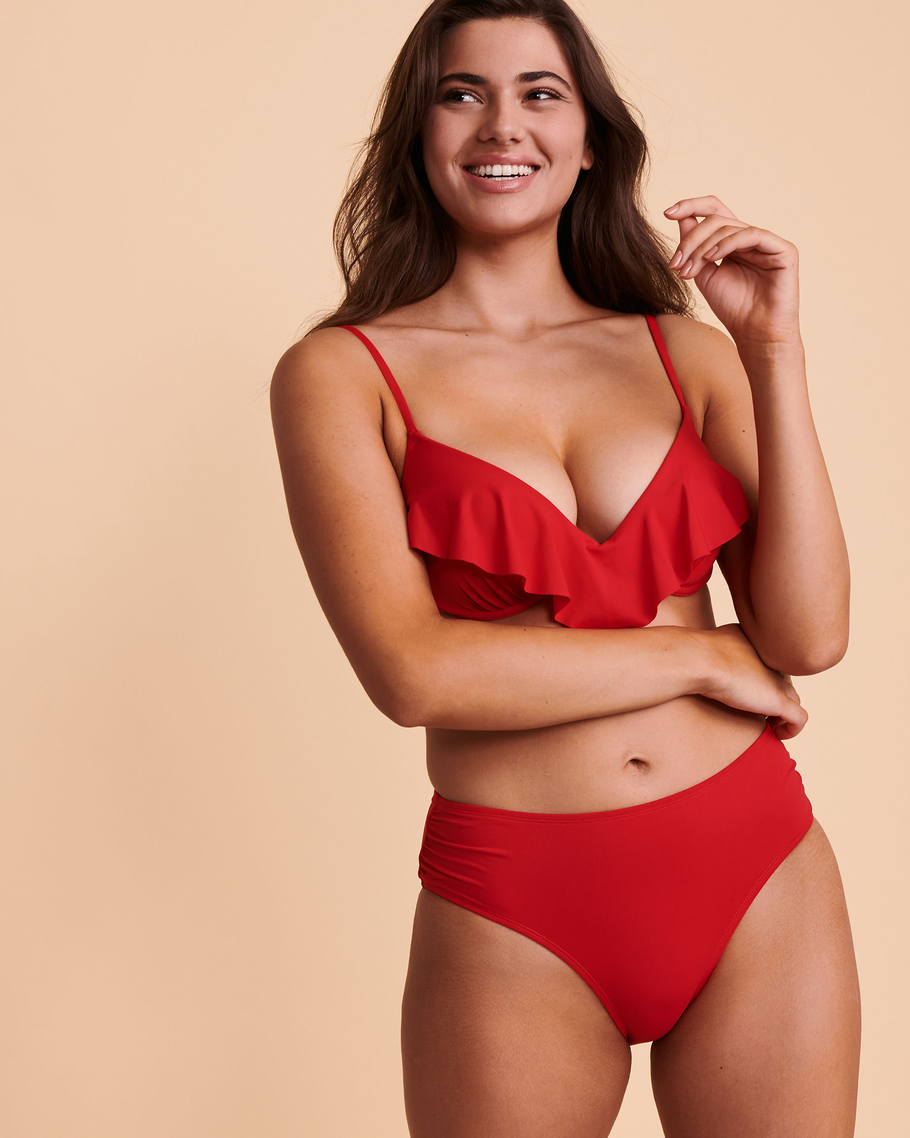TURQUOISE COUTURE SOLID High Waist Bikini Bottom Red 01300008 - View3