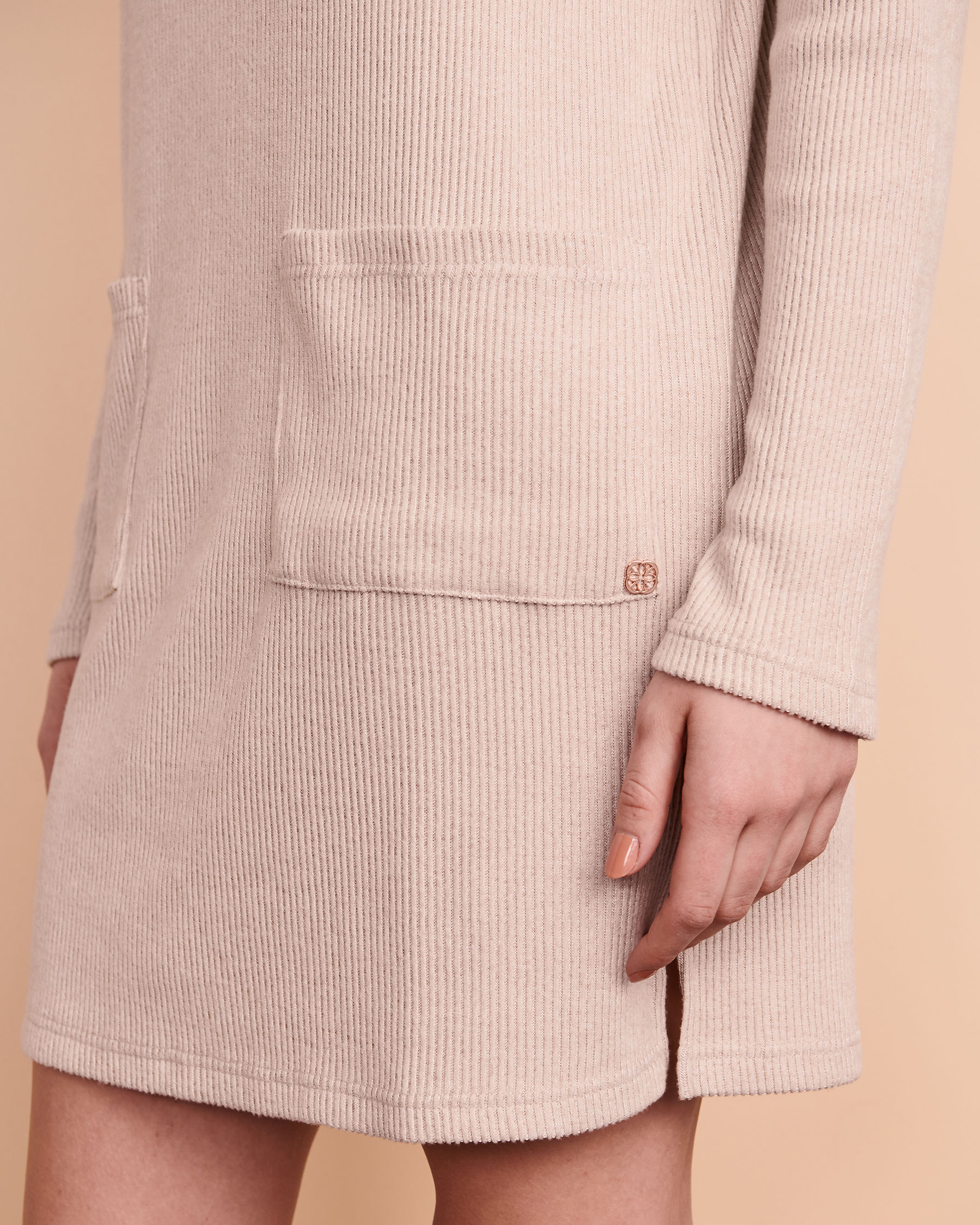 TURQUOISE COUTURE Ribbed Long Sleeve Dress Light beige 02300017 - View3