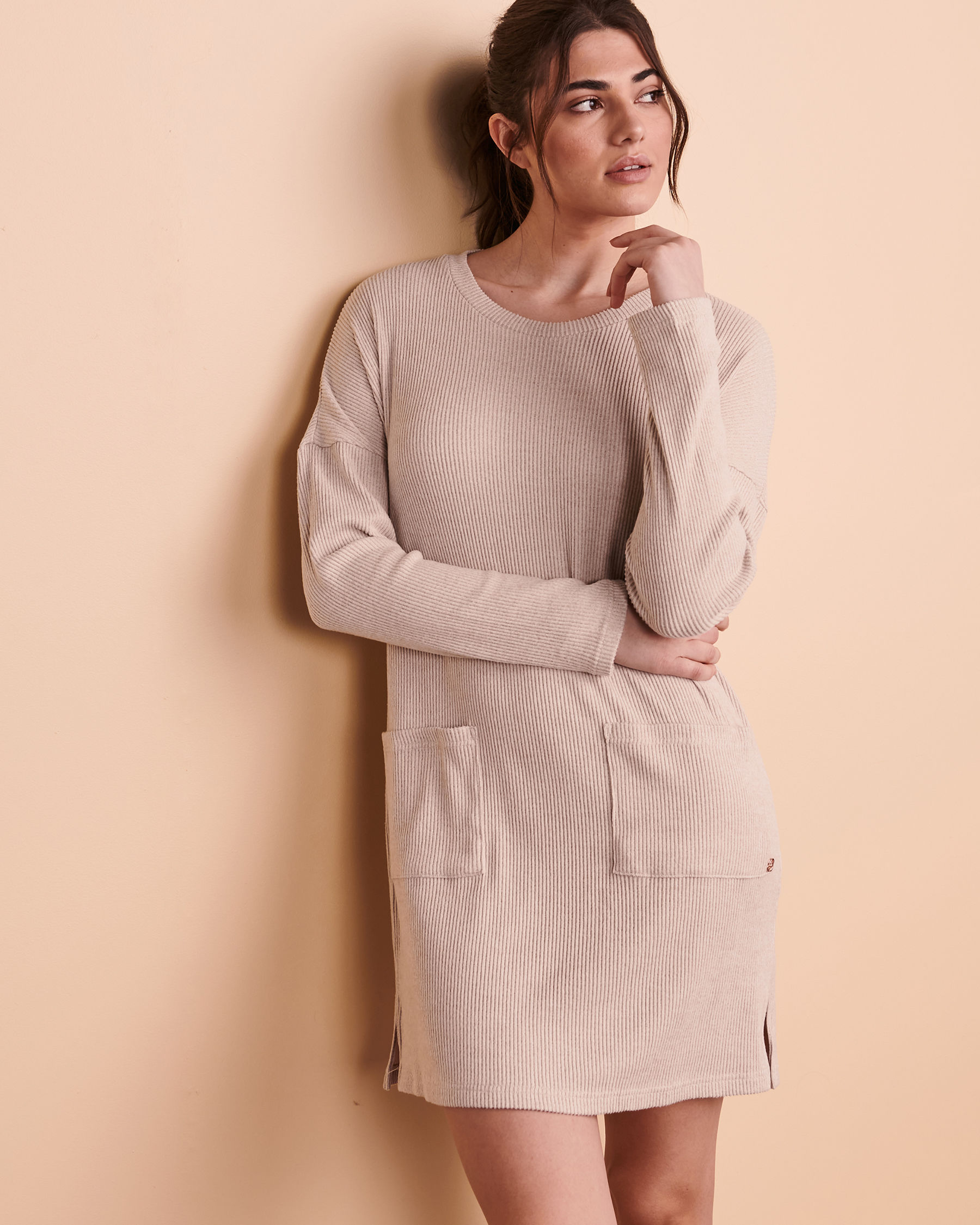 TURQUOISE COUTURE Ribbed Long Sleeve Dress Light beige 02300017 - View4