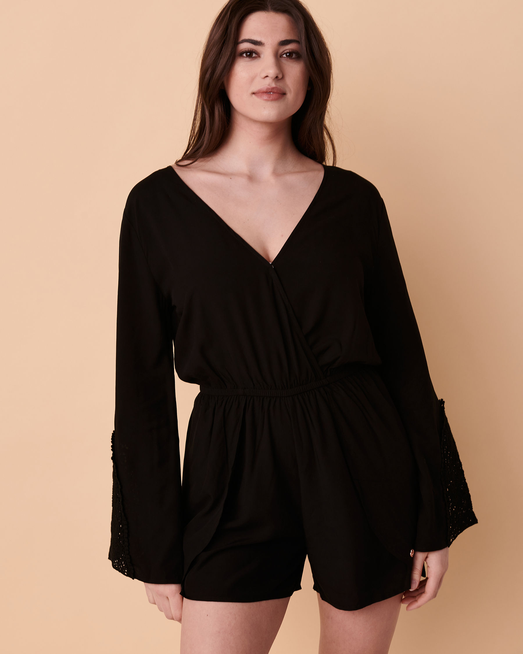 TURQUOISE COUTURE Bell Sleeve Romper Black 02300008 - View1
