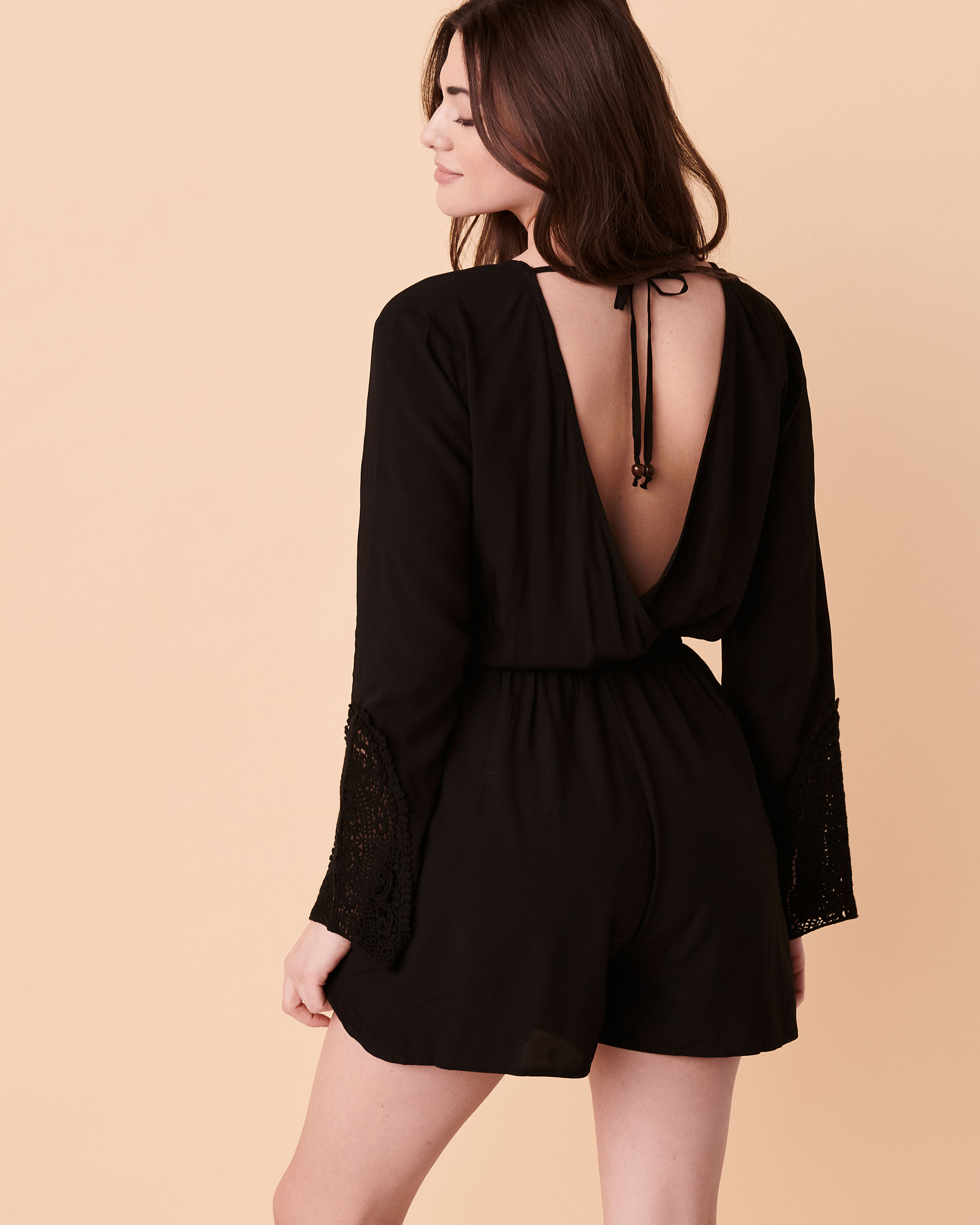 TURQUOISE COUTURE Bell Sleeve Romper Black 02300008 - View2