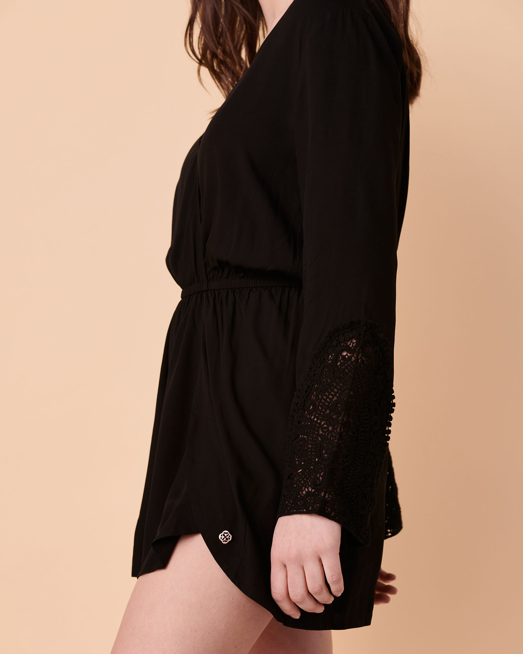 TURQUOISE COUTURE Bell Sleeve Romper Black 02300008 - View3