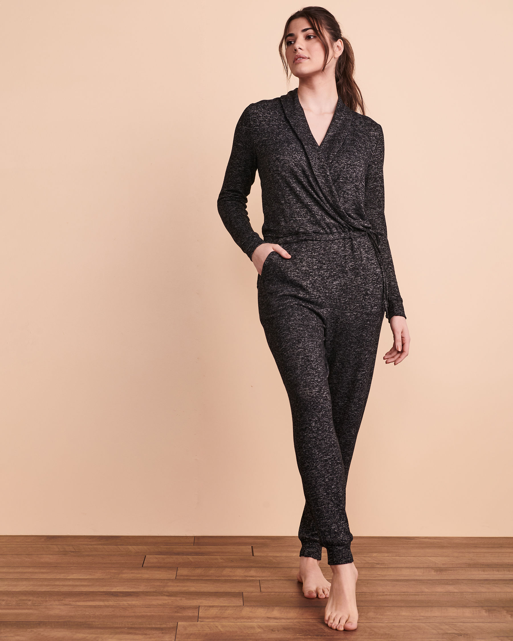 TURQUOISE COUTURE Wrapover Jumpsuit Black 02300015 - View1