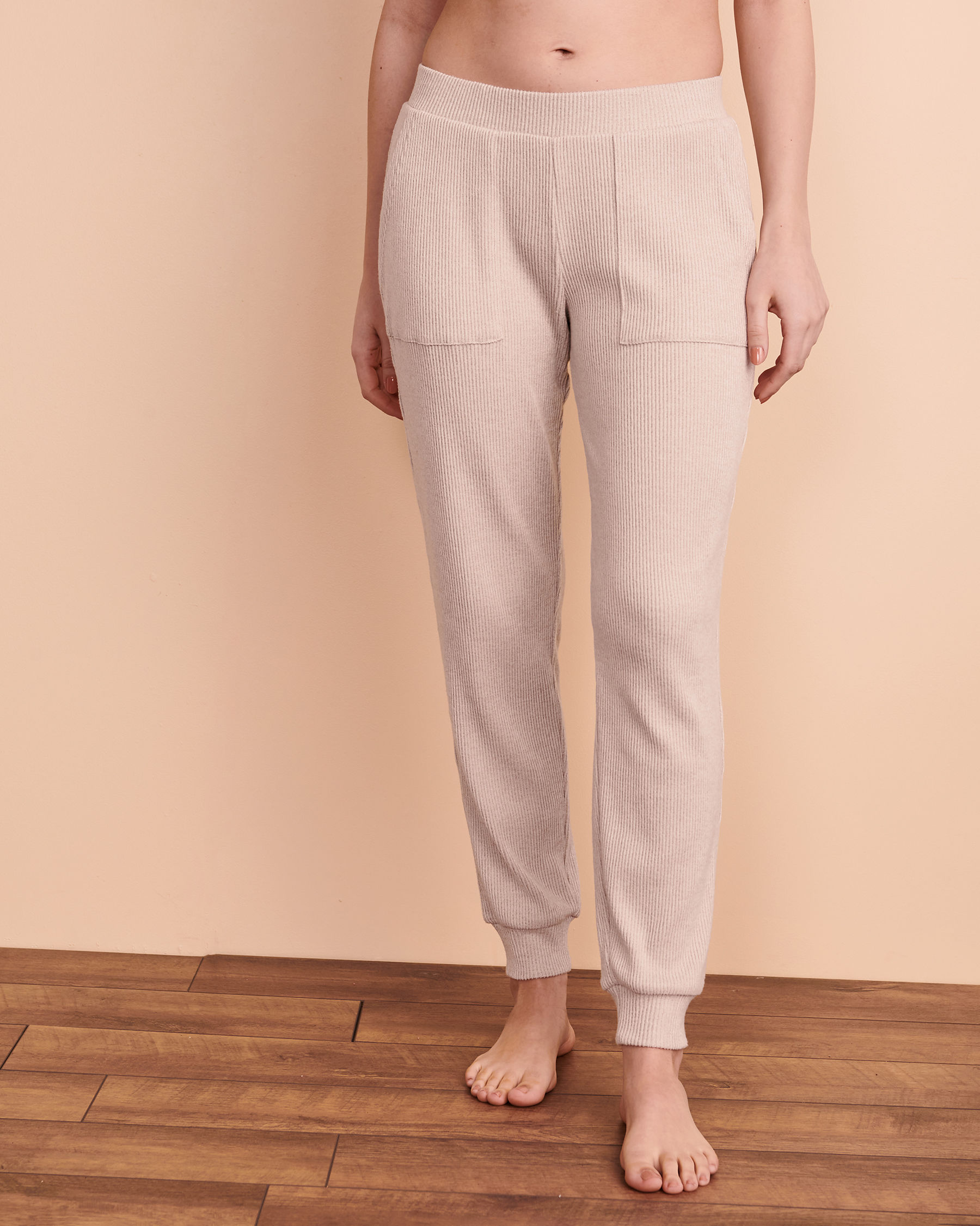 TURQUOISE COUTURE Ribbed Lounge Pant Light beige 02200014 - View1