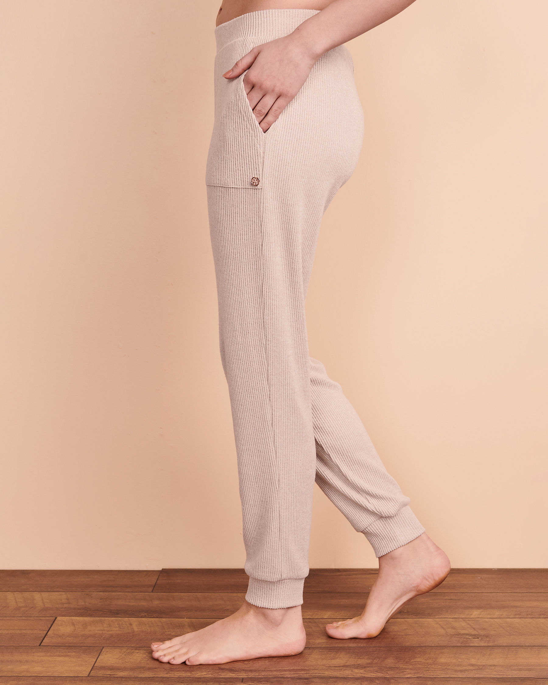 TURQUOISE COUTURE Ribbed Lounge Pant Light beige 02200014 - View2