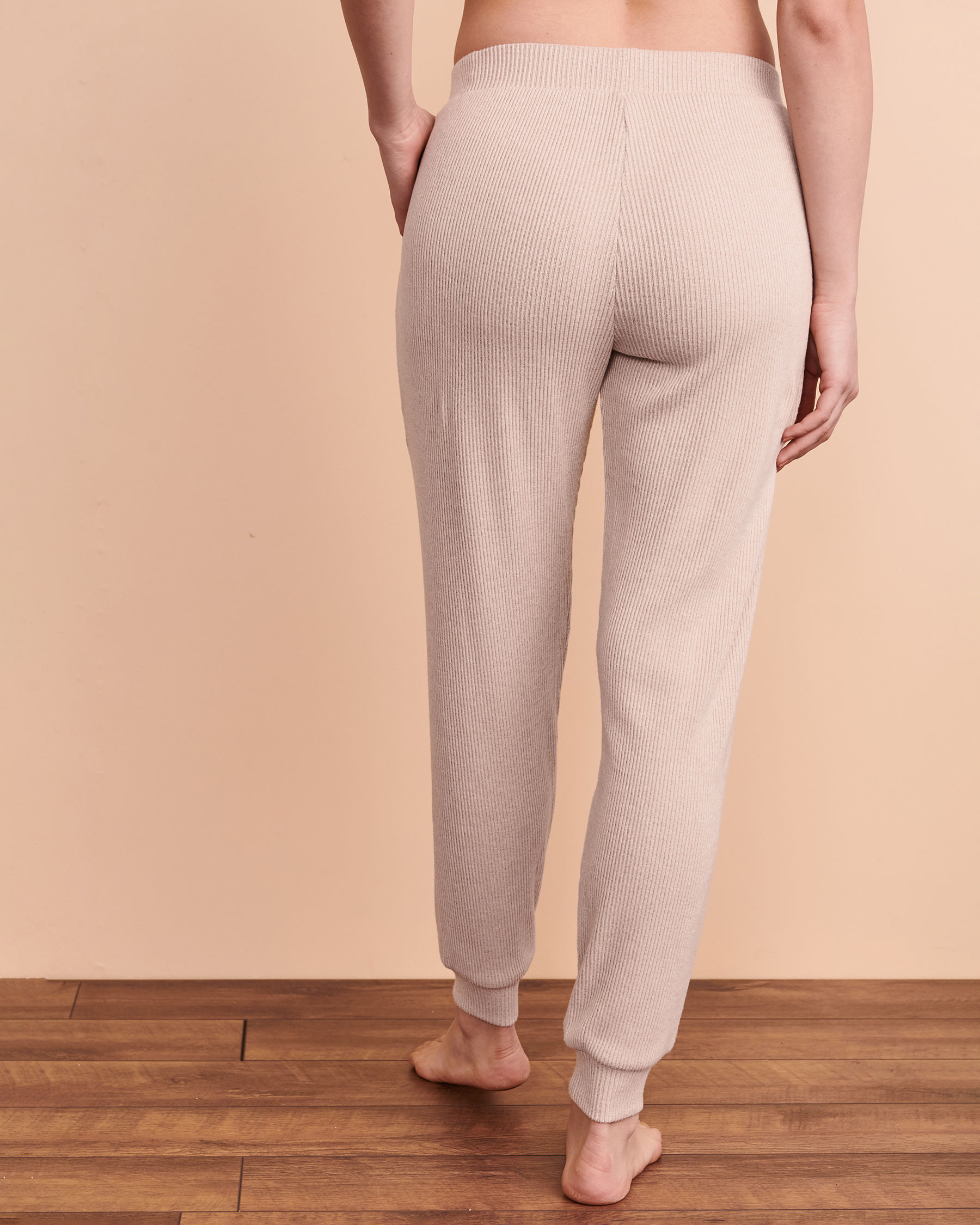 TURQUOISE COUTURE Ribbed Lounge Pant Light beige 02200014 - View3