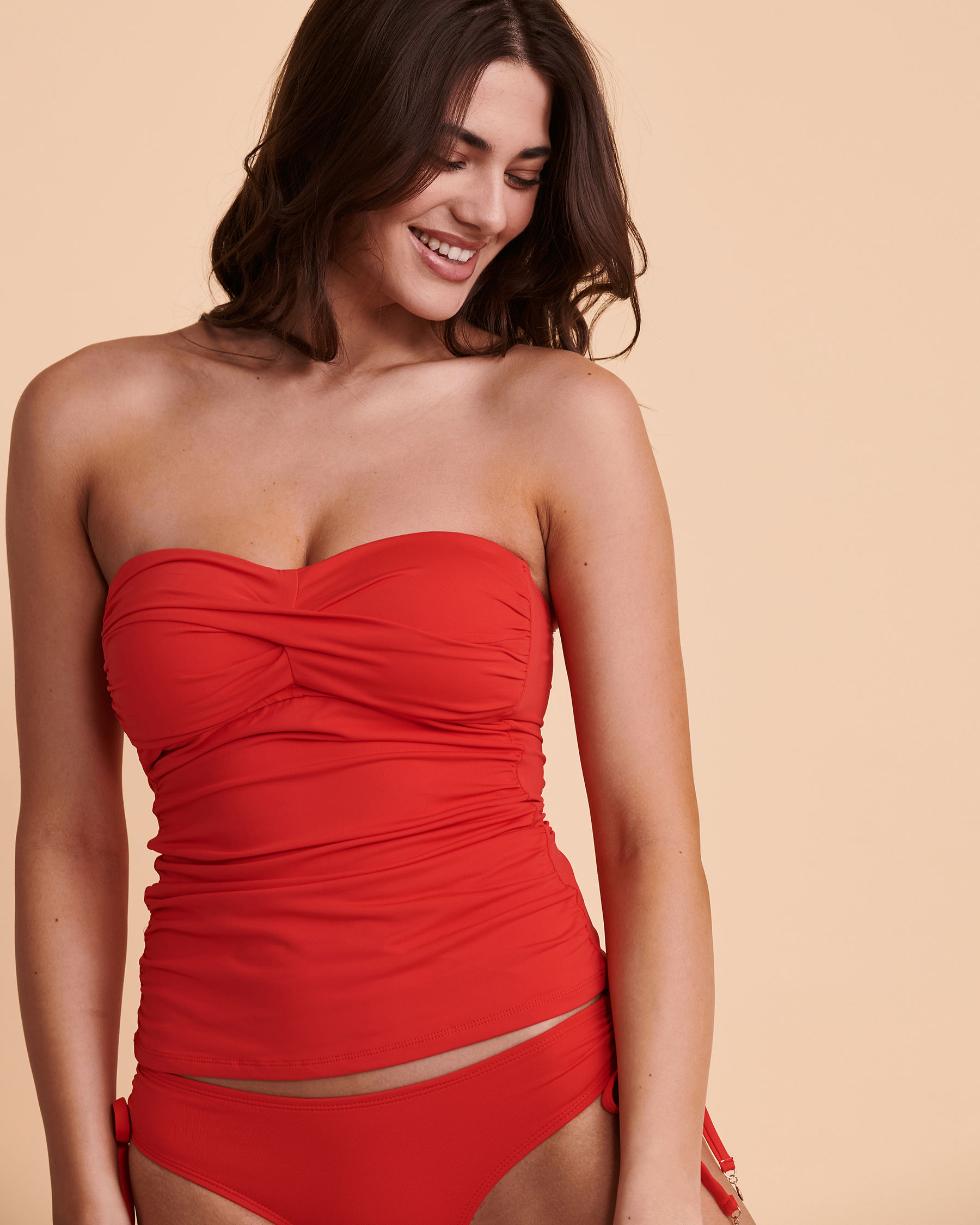 ANNE COLE Bandeau Tankini Top Red 20MT25001 - View1
