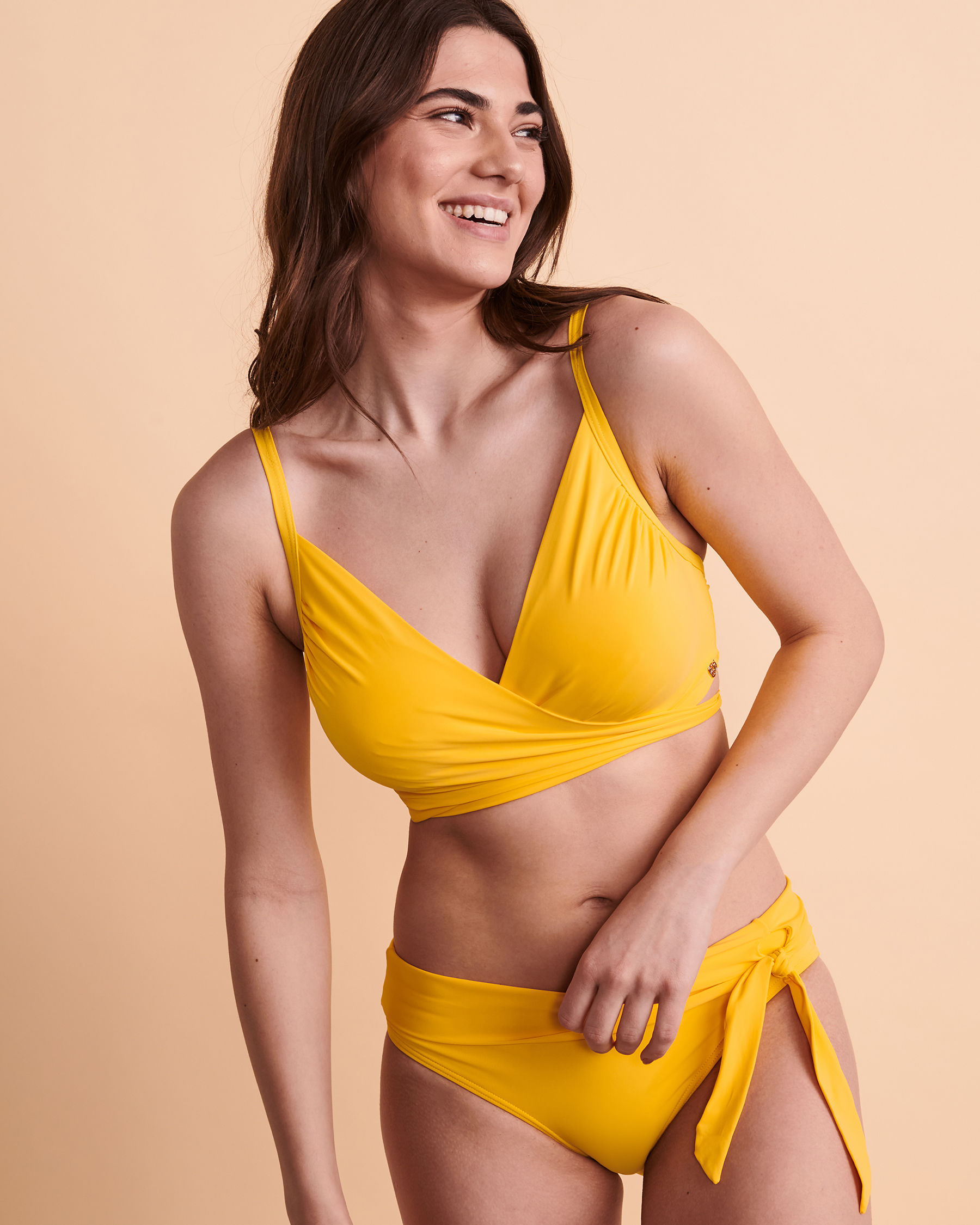 TURQUOISE COUTURE SOLID D Cup Draped Bikini Top Yellow 01200006 - View1