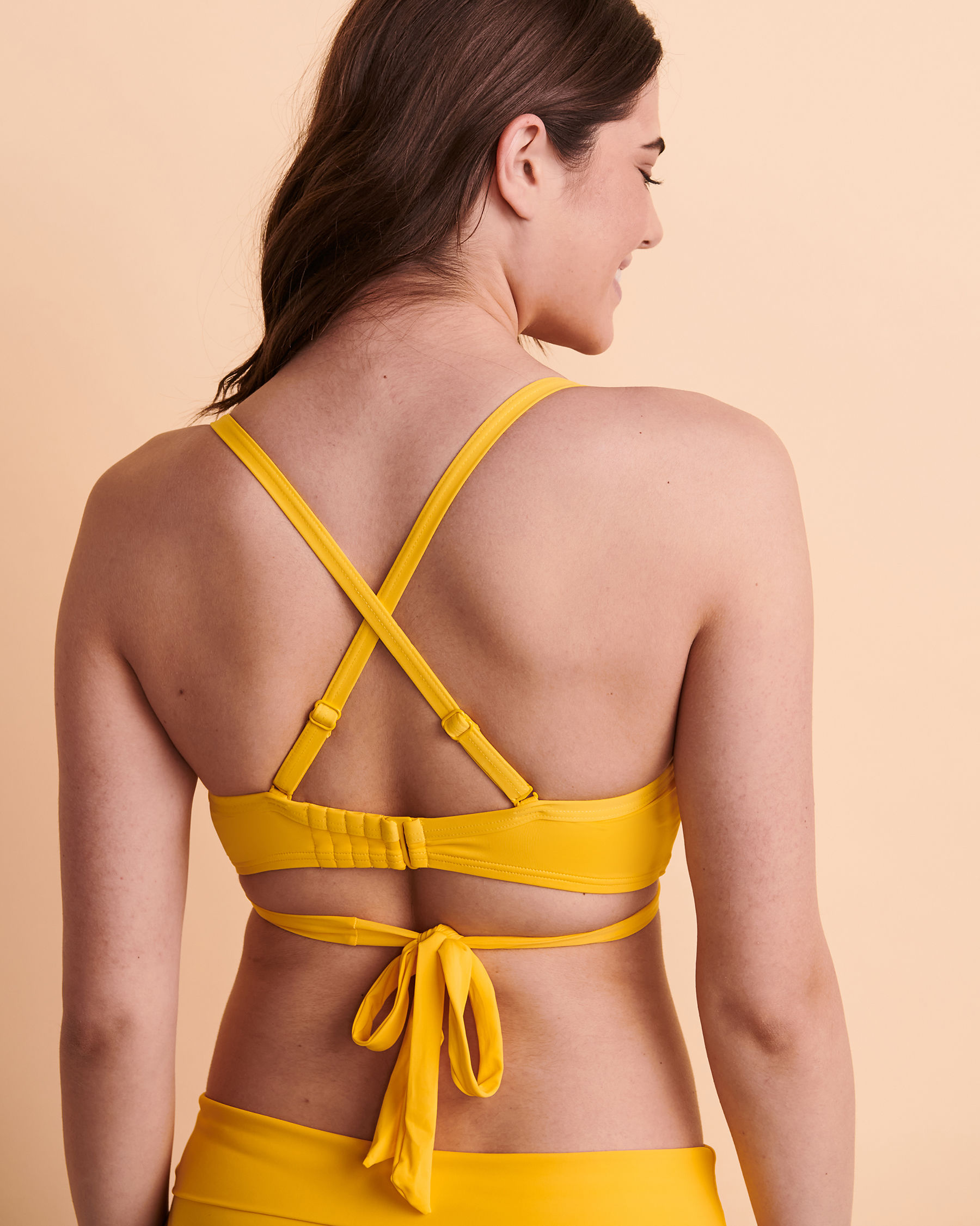 TURQUOISE COUTURE SOLID D Cup Draped Bikini Top Yellow 01200006 - View3
