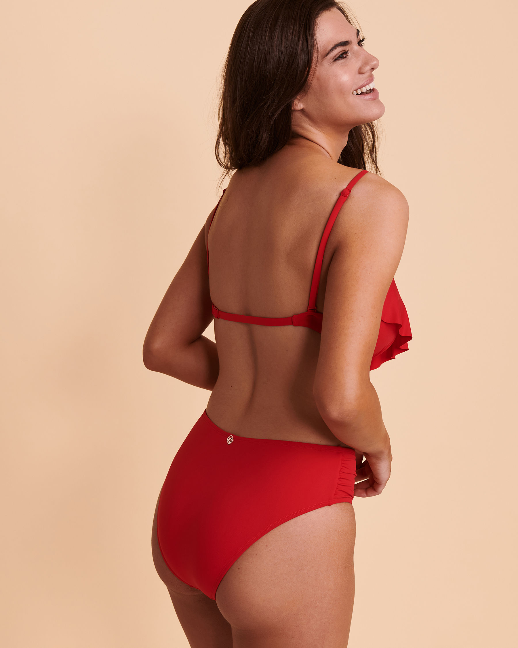 TURQUOISE COUTURE SOLID Ruffle Push-up Bikini Top Red 01100007 - View2