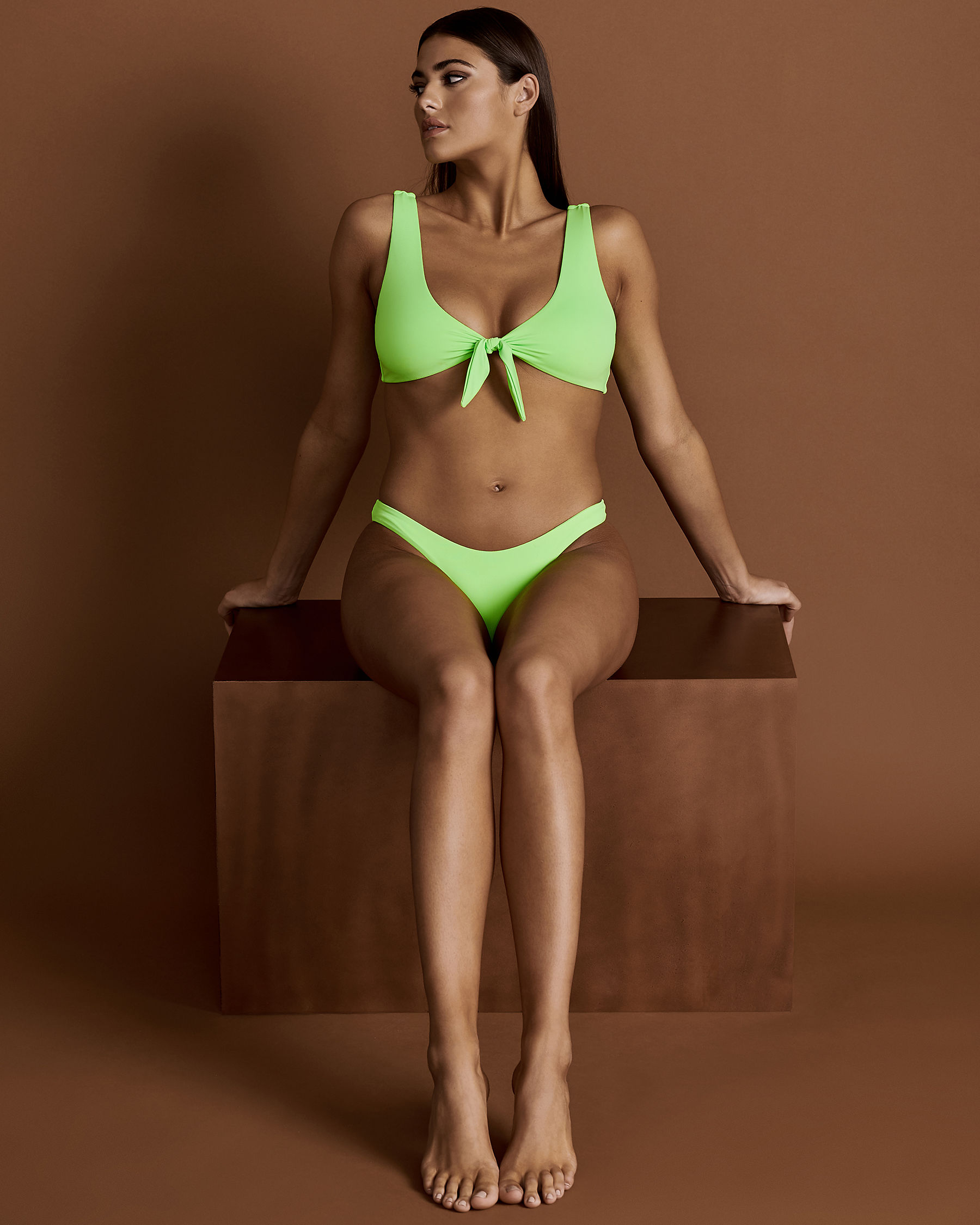 DIPPIN'DAISY'S Front Knotted Bikini Top Lemon Lime D4021 - View1