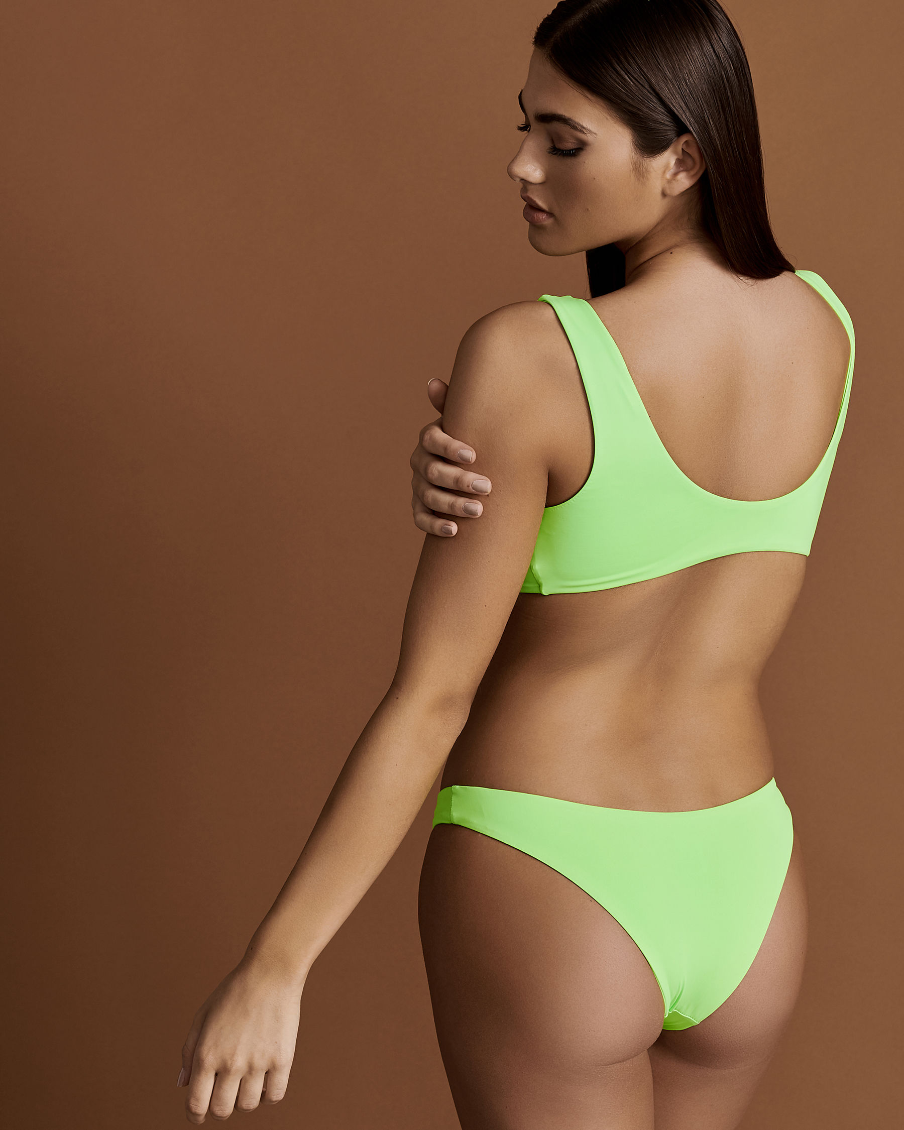 DIPPIN'DAISY'S Front Knotted Bikini Top Lemon Lime D4021 - View2